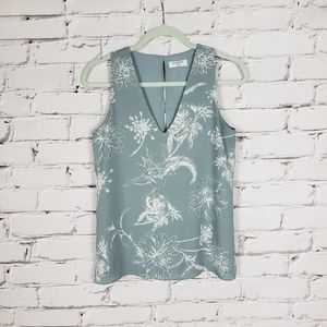 Babaton Blue Floral Sleeveless Blouse